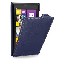 Кожаный чехол книжка вертикальная (нат. кожа) для Nokia Lumia 1020 Синий