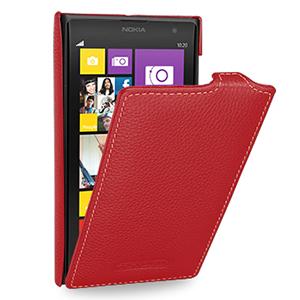 Кожаный чехол книжка вертикальная (нат. кожа) для Nokia Lumia 1020 Красный