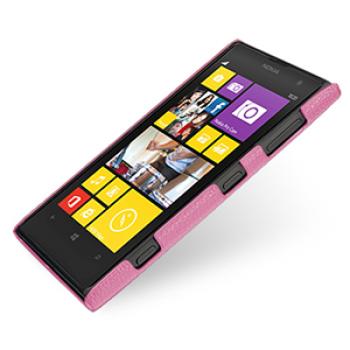 Кожаный чехол-накладка Back Cover (нат. кожа) для Nokia Lumia 1020 розовая