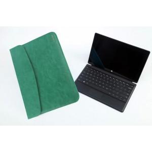 Кожаный чехол папка (нат. вощеная кожа) для Microsoft Surface Pro 2 Зеленый