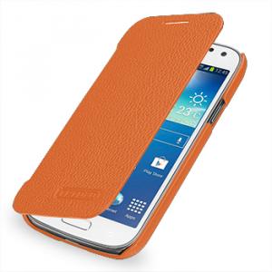 Кожаный чехол книжка горизонтальная (нат. кожа) для Samsung Galaxy S4 Mini оранжевая