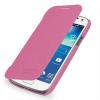 Кожаный чехол книжка горизонтальная (нат. кожа) для Samsung Galaxy S4 Mini розовая