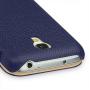 Кожаный чехол книжка горизонтальная (нат. кожа) для Samsung Galaxy S4 Mini синяя