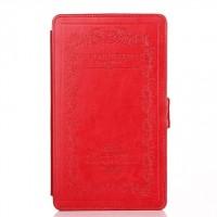 Кожаный тисненый чехол подставка с застежкой и внутренним карманом для ASUS Nexus 7 II 2013 Красный