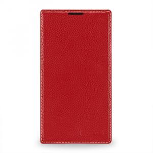 Кожаный чехол книжка горизонтальная (нат. кожа) для Nokia Lumia 1320 Красный