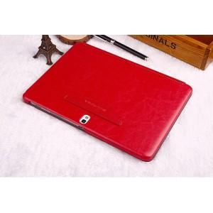 Кожаный чехол смарт флип подставка (нат. кожа) серия First Wish для Samsung Galaxy Tab Pro 10.1 Красный