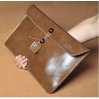 Эксклюзивный кожаный чехол папка (нат. вощеная кожа) для Sony Vaio Tap 11 Коричневый