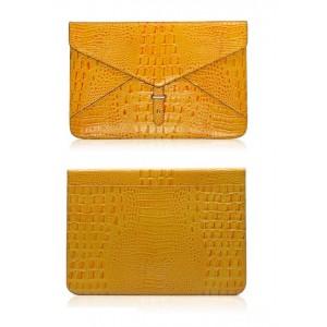 Кожаный чехол папка (нат. кожа крокодила) для Microsoft Surface Pro 2 Желтый