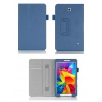 Чехол подставка с внутренними карманами и держателем кисти серия Full Cover для Samsung Galaxy Tab 4 8.0 Синий