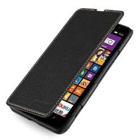 Кожаный чехол книжка горизонтальная (нат. кожа) для Nokia Lumia 1320 Черный