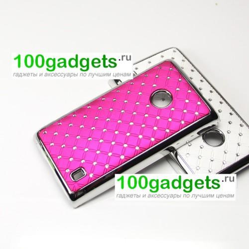 Чехол пластик/металл со стразами для Nokia Lumia 520/525 Голубой