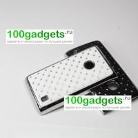 Чехол пластик/металл со стразами для Nokia Lumia 520/525 Белый