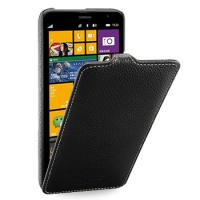 Кожаный чехол книжка вертикальная (нат. кожа) для Nokia Lumia 1320 Черный