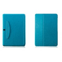 Кожаный чехол смарт флип подставка (нат. кожа) серия First Wish для Samsung Galaxy Note Pro 12.2 Голубой