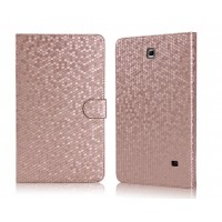 Чехол портмоне подставка текстурный серия Honeycomb для Samsung Galaxy Tab 4 8.0 Бежевый