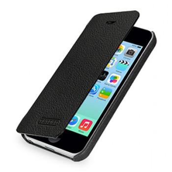 Кожаный чехол книжка горизонтальная (нат. кожа) для Iphone 5c черная