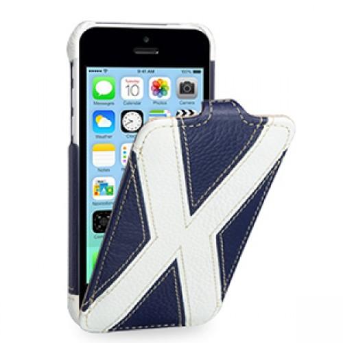 Кожаный премиум чехол книжка вертикальная (2 вида нат. кожи) серия X Style для Iphone 5c синяя/белая