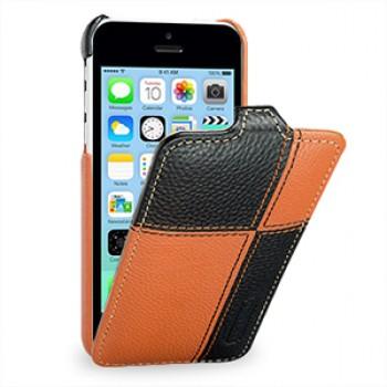 Кожаный премиум чехол книжка вертикальная (нат. кожа) серия Pieces для Iphone 5c оранжевая