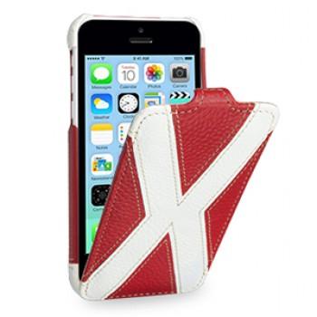 Кожаный премиум чехол книжка вертикальная (2 вида нат. кожи) серия X Style для Iphone 5c красная/белая