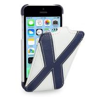 Кожаный премиум чехол книжка вертикальная (2 вида нат. кожи) серия X Style для Iphone 5c белая/синяя