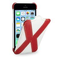 Кожаный премиум чехол книжка вертикальная (2 вида нат. кожи) серия X Style для Iphone 5c белая/красная