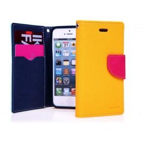 Чехол портмоне подставка для Iphone 5c Желтый