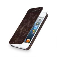 Кожаный чехол книжка горизонтальная (цельная телячья кожа) для Iphone 5s коричневая