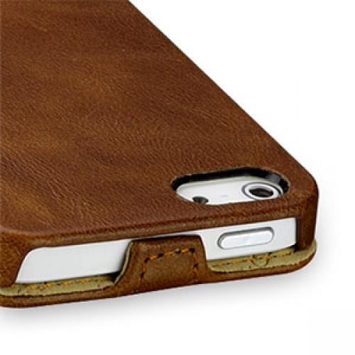 Кожаный чехол книжка вертикальная (цельная телячья кожа) для Iphone 5/5s/SE