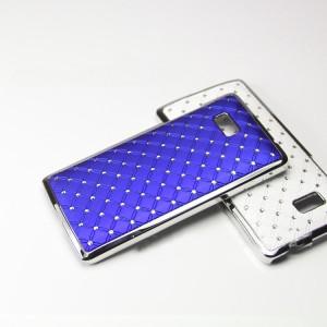Чехол пластик/металл со стразами для HTC Desire 600 Синий