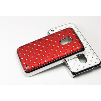 Чехол пластик/металл со стразами для Nokia Lumia 620 Красный