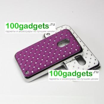 Чехол пластик/металл со стразами для Nokia Lumia 620 Фиолетовый