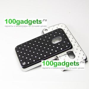 Чехол пластик/металл со стразами для Nokia Lumia 620 Черный