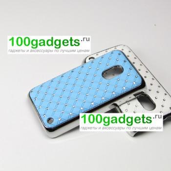Чехол пластик/металл со стразами для Nokia Lumia 620 Голубой