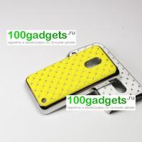 Чехол пластик/металл со стразами для Nokia Lumia 620 Желтый