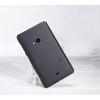 Пластиковый матовый нескользящий премиум чехол для Nokia Lumia 625 Черный