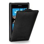 Кожаный чехол книжка вертикальная (нат. кожа) для Nokia Lumia 720 черная