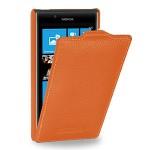 Кожаный чехол книжка вертикальная (нат. кожа) для Nokia Lumia 720 оранжевая