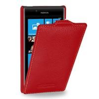 Кожаный чехол книжка вертикальная (нат. кожа) для Nokia Lumia 720 красная