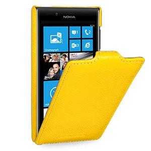 Кожаный чехол книжка вертикальная (нат. кожа) для Nokia Lumia 720 желтая