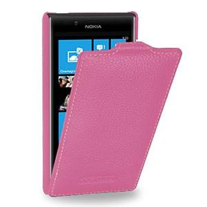 Кожаный чехол книжка вертикальная (нат. кожа) для Nokia Lumia 720 розовая