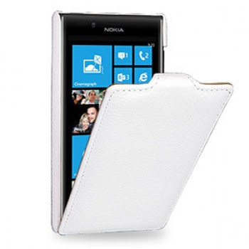 Кожаный чехол книжка вертикальная (нат. кожа) для Nokia Lumia 720 белая