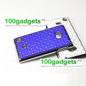 Чехол пластик/металл со стразами для Nokia Lumia 720 Синий
