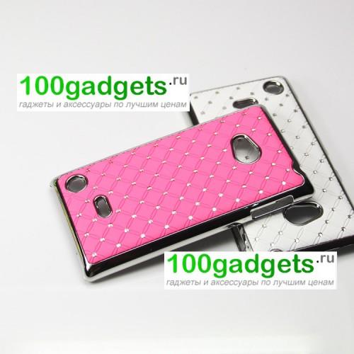 Чехол пластик/металл со стразами для Nokia Lumia 720 Красный