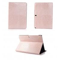 Чехол подставка серия Croco Pattern для Samsung Galaxy Note Pro 12.2 Розовый