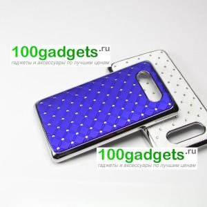 Чехол пластик/металл со стразами для Nokia Lumia 820 Синий