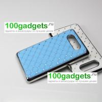 Чехол пластик/металл со стразами для Nokia Lumia 820 Голубой