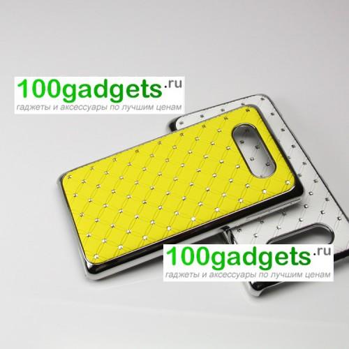 Чехол пластик/металл со стразами для Nokia Lumia 820 Зеленый