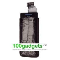 Чехол кожаный мешочек черный крокодил для HTC Windows Phone 8S