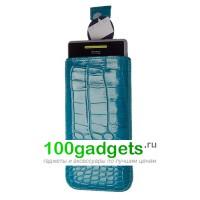 Чехол кожаный мешочек голубой крокодил для HTC Windows Phone 8S