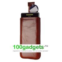 Чехол кожаный мешочек коричневый для HTC Windows Phone 8S